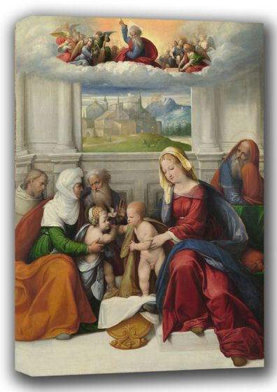Garofalo, Benvenuto Tisi da: The Holy Family with Saints. Fine Art Canvas. Sizes: A4/A3/A2/A1 (001305)